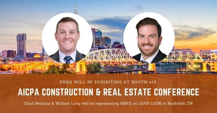 KBKG is Exhibiting at the AICPA Construction & Real Estate Conference