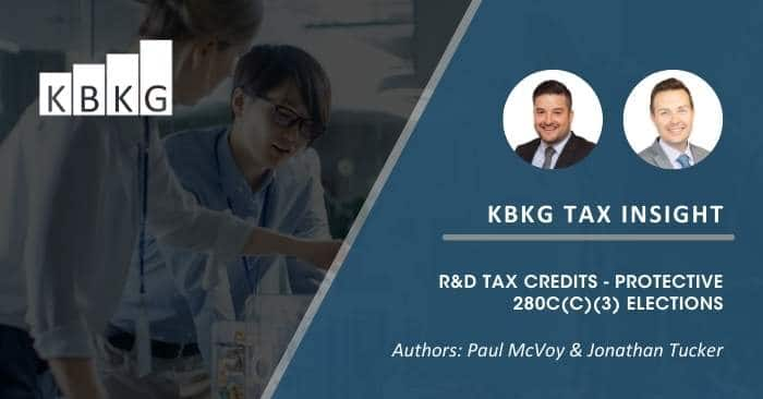 [Updated] KBKG Tax Insight: R&D Tax Credits – Protective 280C(c)(3) Elections