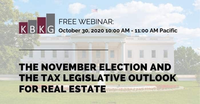 [Webinar] The November Election and the Tax Legislative Outlook for Real Estate