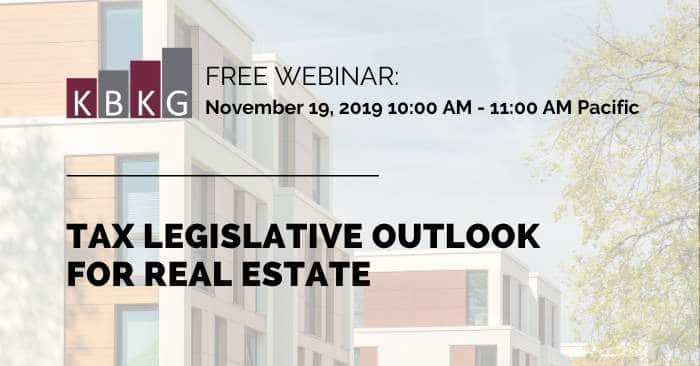 [WEBINAR] Tax Legislative Outlook for Real Estate