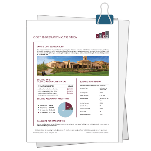 Golf Course & Country Club Cost Seg Case Study