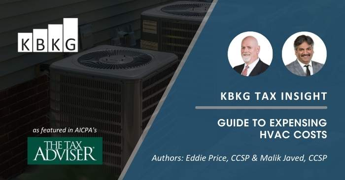 KBKG Tax Insight: Guide to Expensing HVAC Costs
