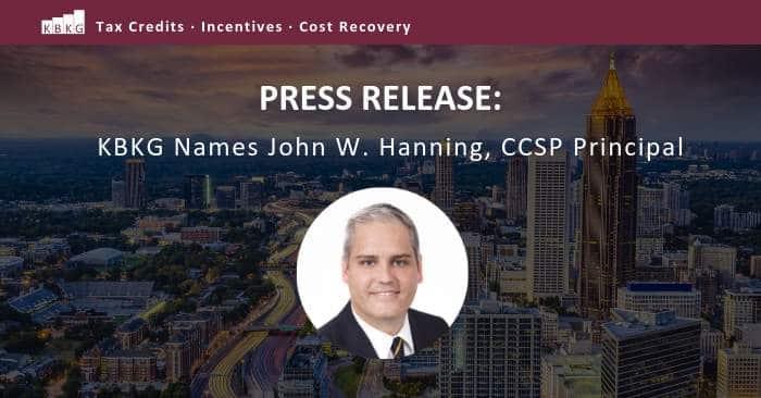 Press Release: KBKG Names John W. Hanning, CCSP Principal