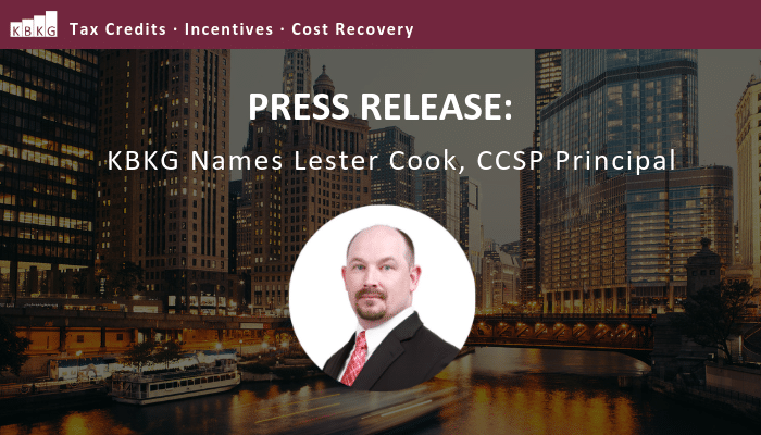 Press Release: KBKG Names Lester Cook, CCSP Principal