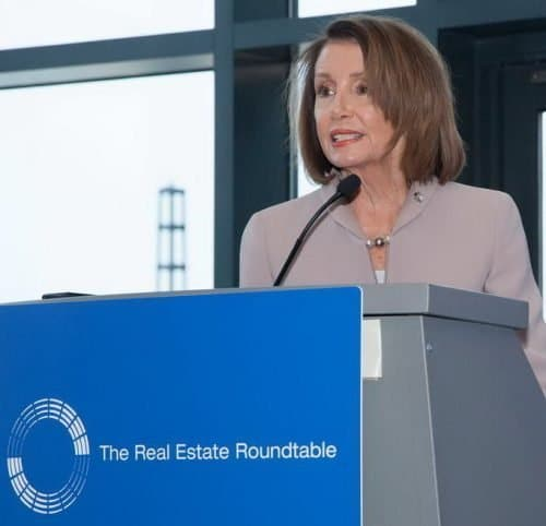 Nancy Pelosi addressing Real Estate Roundtable