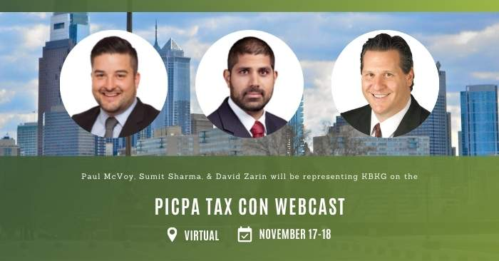 KBKG is Speaking on the PICPA Tax Con Webcast