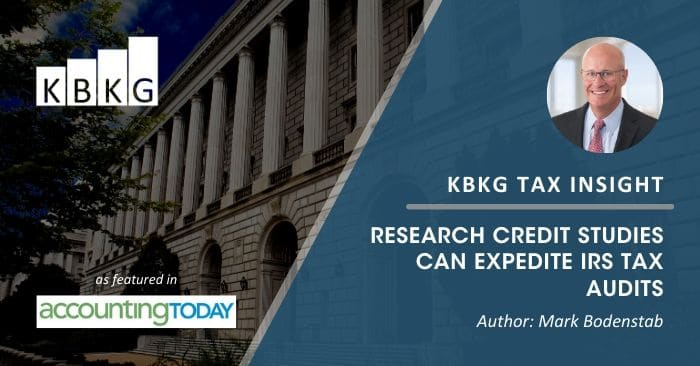 KBKG Tax Insight: Research Credit Studies Can Expedite IRS Tax Audits