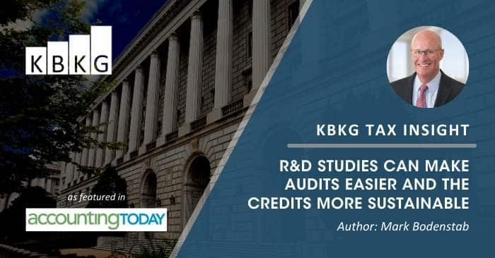 KBKG Tax Insight: R&D Studies Can Make Audits Easier and the Credits More Sustainable