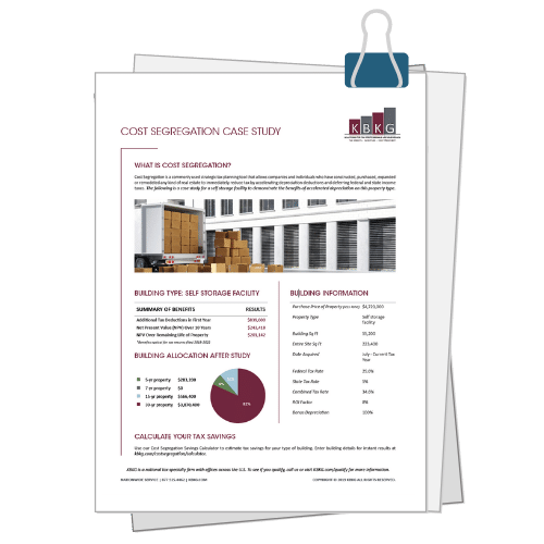 Self Storage Facility Cost Seg Case Study