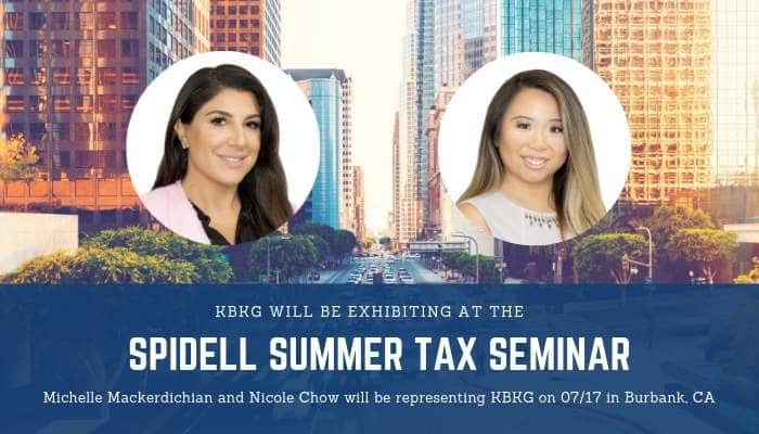 KBKG is Exhibiting at the Spidell Summer Tax Seminar
